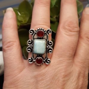 Larimar and Garnet Silver Ring. Size 6.50 NEW